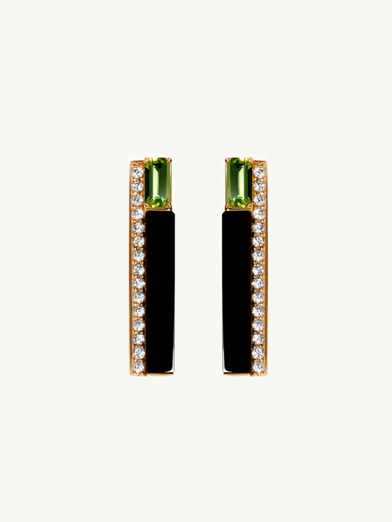 Invidia 18K Gold Chrome Dioside and Pavé Diamond Earrings