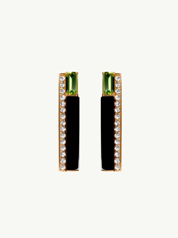 Invidia Chrome Diopside and Onyx Pavé Diamond Earrings in Yellow Gold