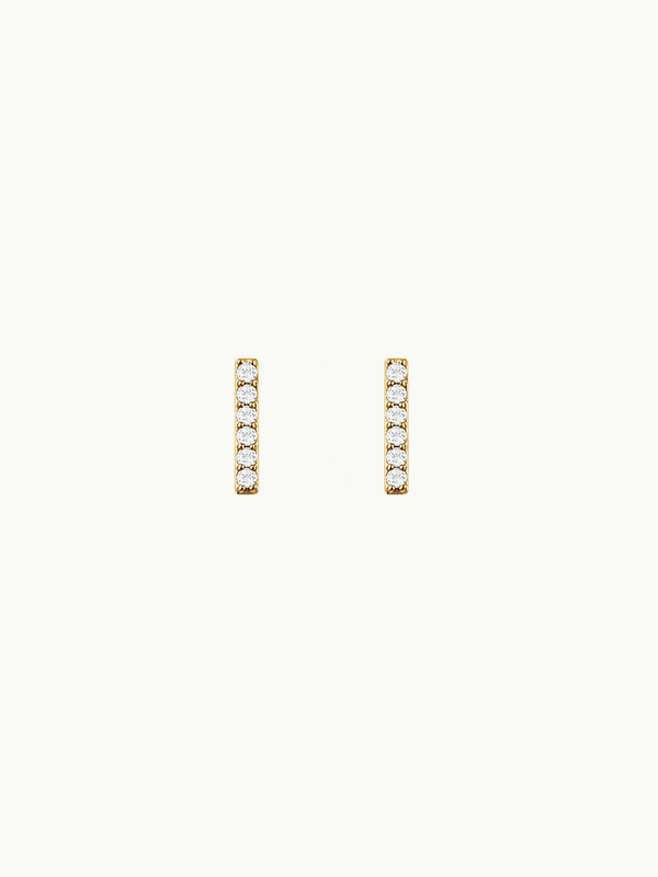 Essential Pavé Diamond Bar Earrings In Yellow Gold