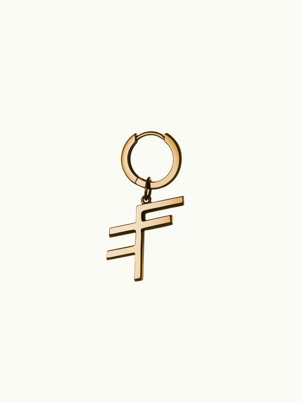 MAREI X Evident Future Pendant Hoop Earring In 18K Yellow Gold