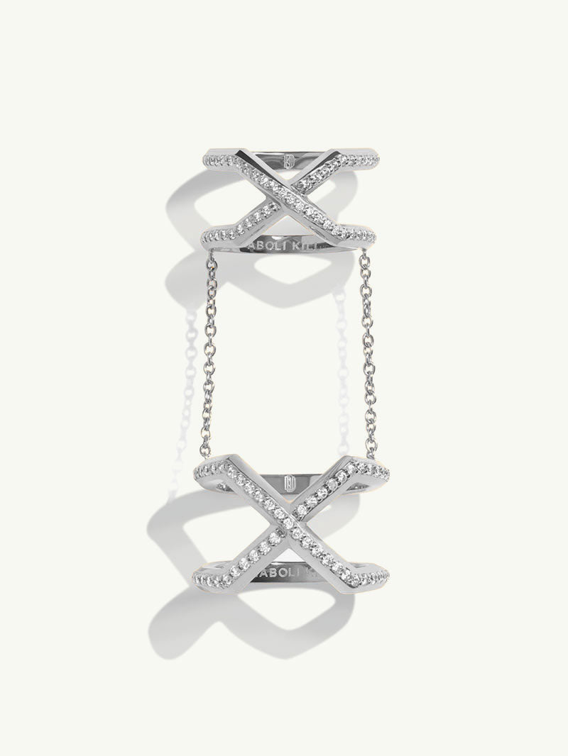Exquis Gemini Pavé White Diamond Infinity Ring In 18K White Gold