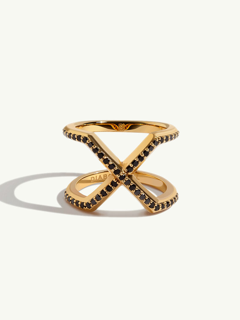 Exquis Yellow Gold Ring With Black Diamonds