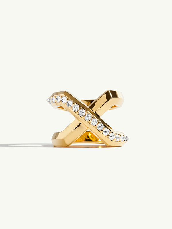 Exquis XL Pavé Diamond Infinity Ring in 18K Yellow Gold