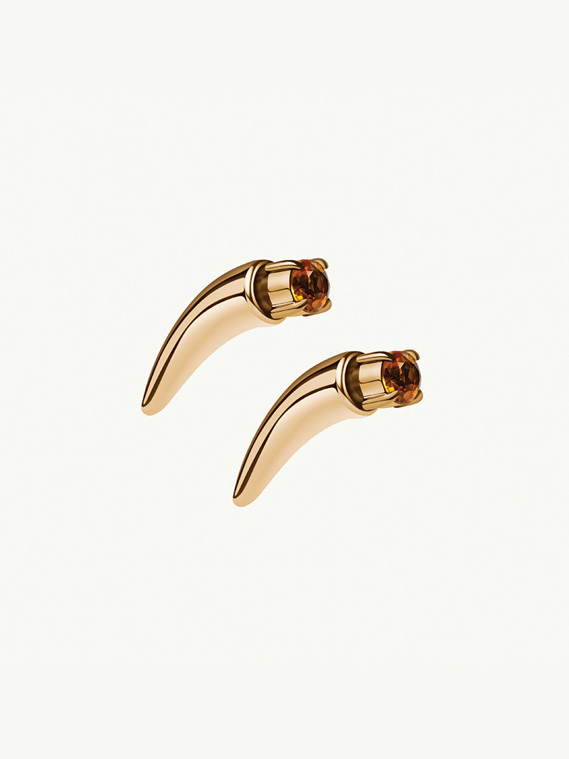 Damian Citrine Horn Earring In Yellow Gold