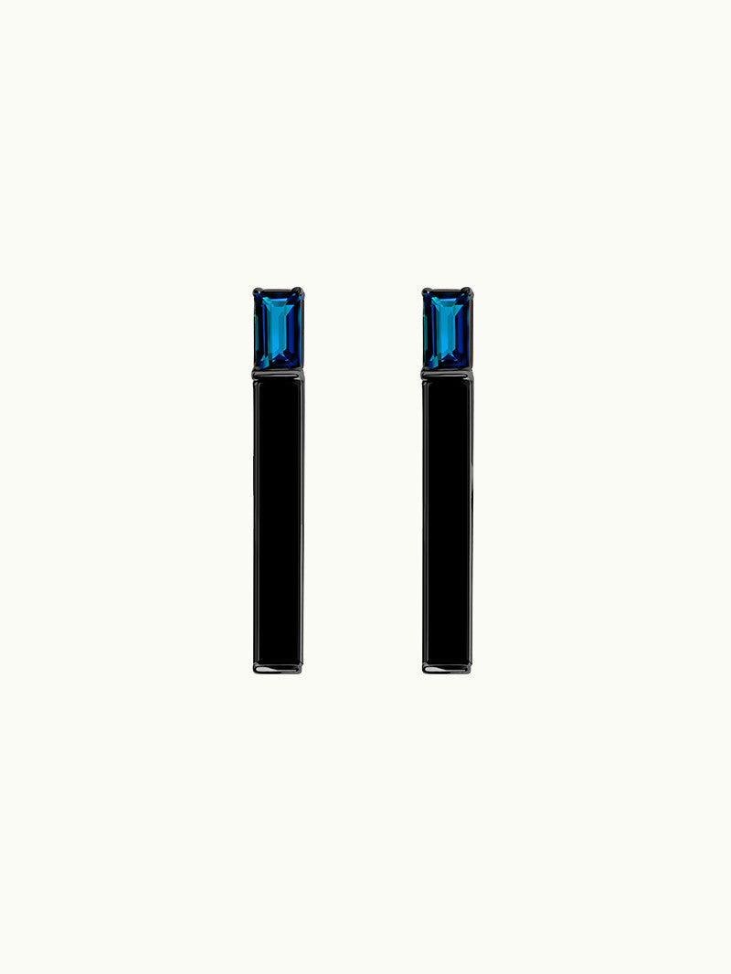 Invidia Blue Sapphire and Onyx Bar Earrings in Black Gold