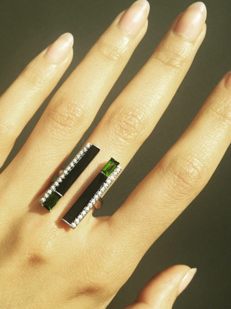 Invidia Chrome Diopside and Onyx Pavé Diamond Ring in 18K Yellow Gold