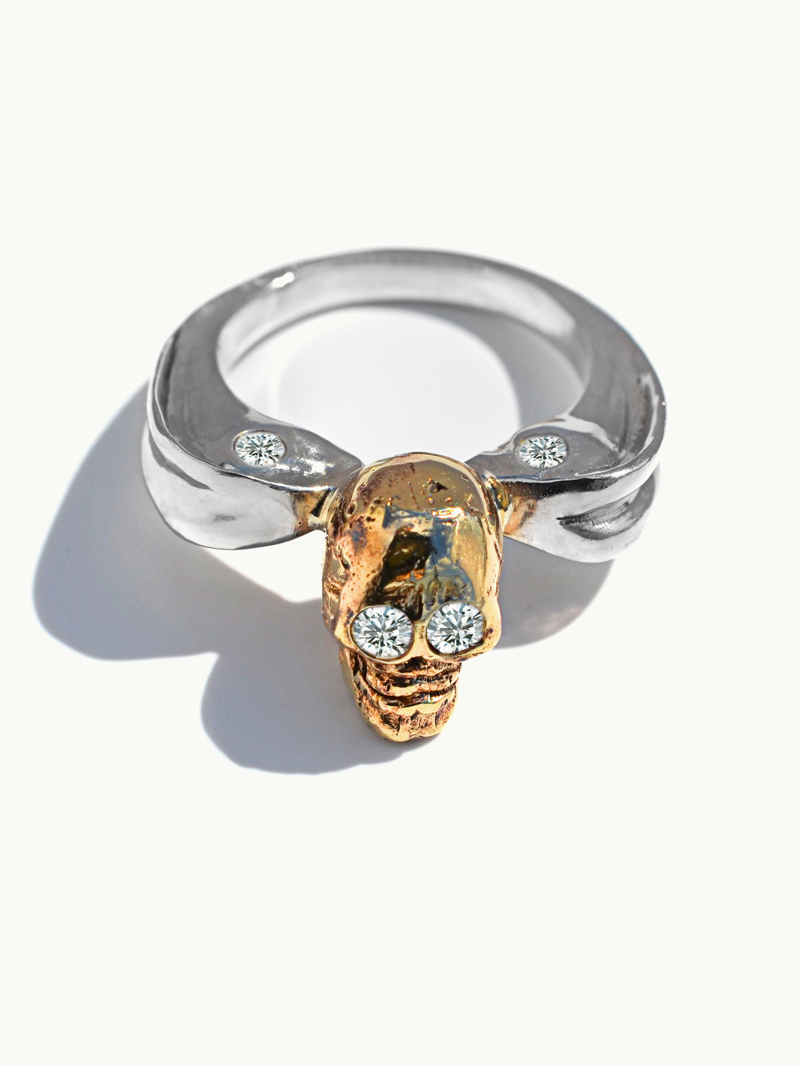 Ira Memento Mori Skull and Serpent Ring With White Diamonds