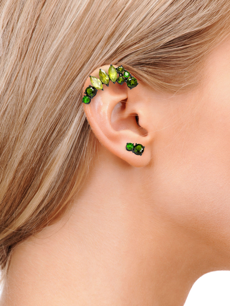 ISADORA GREEN GEMSTONE EAR CUFF AND STUD EARRINGS ON MODEL