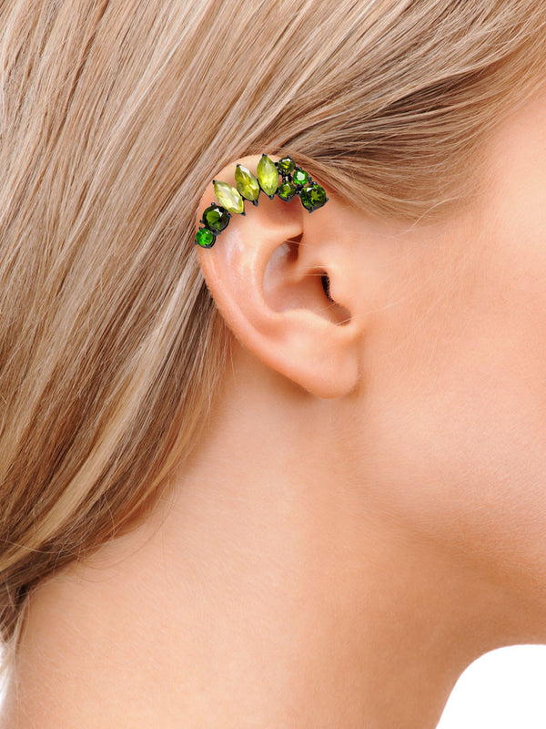 ISADORA GREEN GEMSTONE EAR CUFF ON MODEL