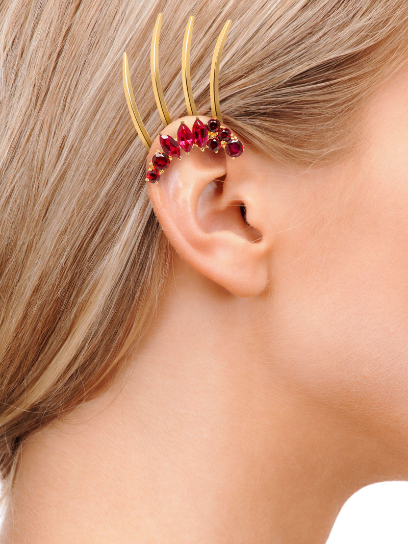 ISADORA GARNET GEMSTONE EAR CUFF - SHOWN ON MODEL