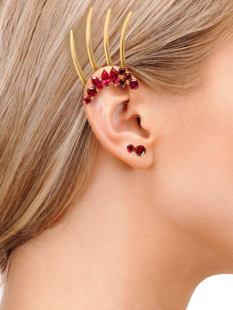 ISADORA GARNET STUD EARRINGS WITH ISADORA GARNET EAR CUFF ON MODEL