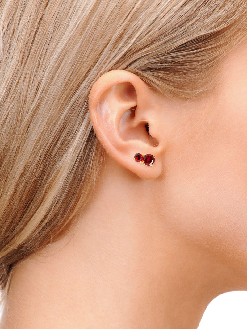Garnet Isadora Stud Earrings on Model