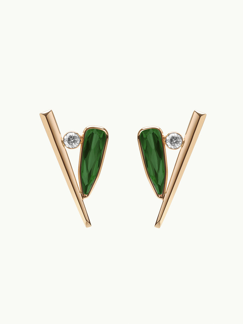 Lilith 18K Gold Diamond and Green Tourmaline Earrings