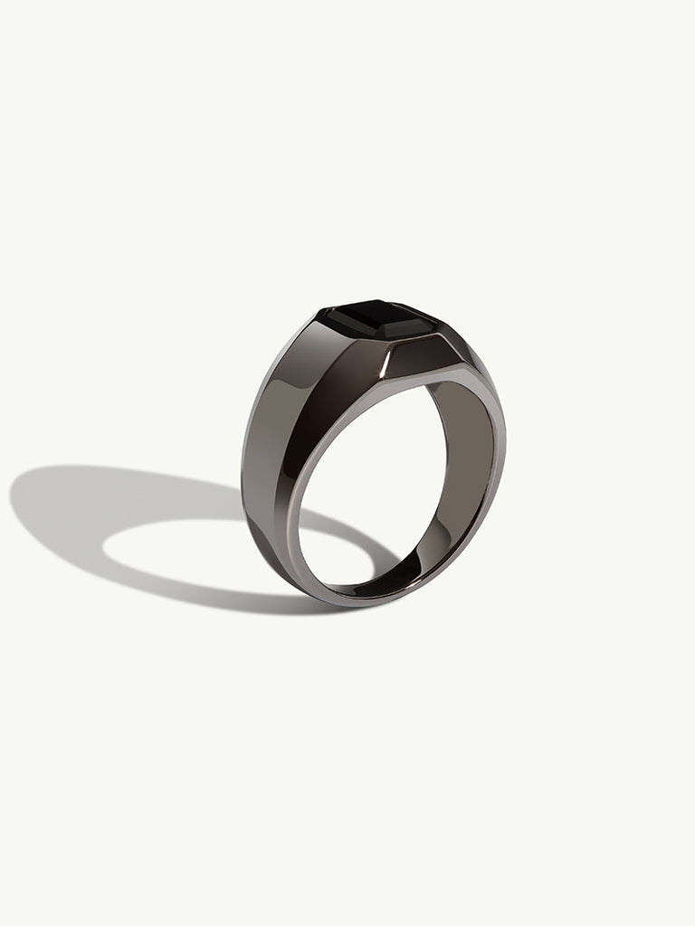 black onyx wedding ring 9mm Black Titanium Men s Ring with Silver Inlay A great look sleek and modern