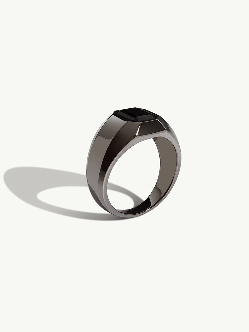 Virtus Onyx Signet Ring In Black Rhodium