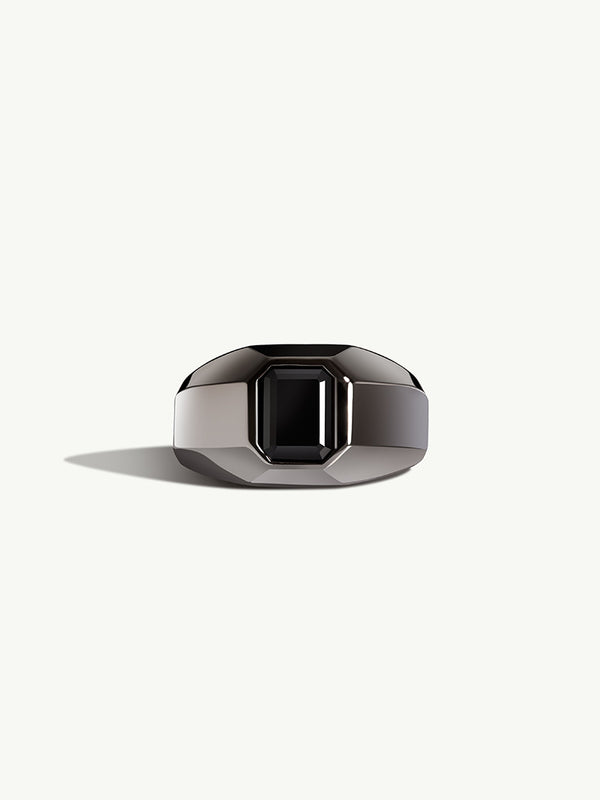 Virtus Onyx Signet Ring In 18K Black Gold