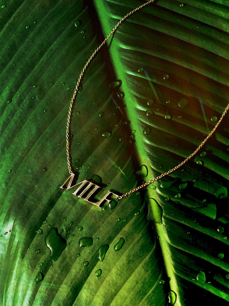 MILF Pendant Necklace in White Gold
