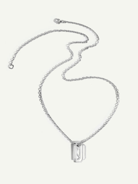 18K White Gold Mens Necklace With Monogram Tag