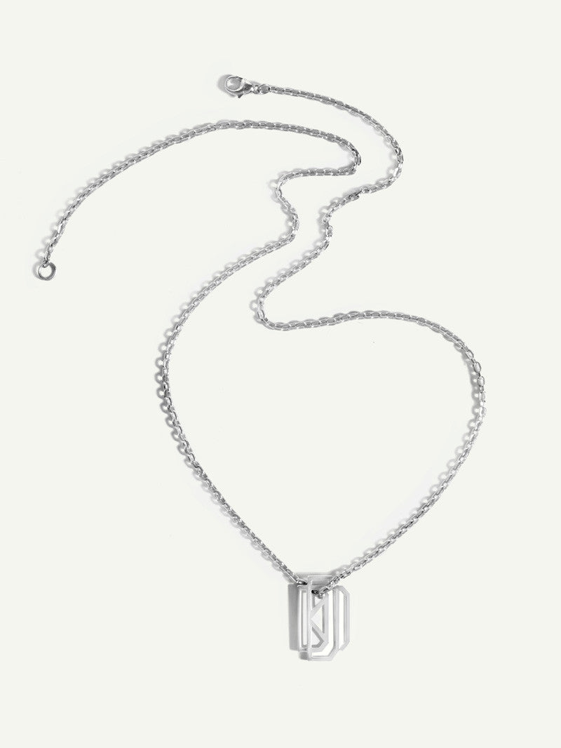 White Gold Mens Necklace With Monogram Tag
