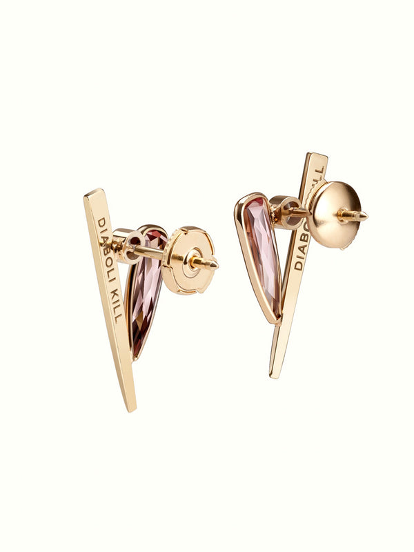 Ready To Ship - Lilith Dagger Diamond Earrings with Pink Tourmaline