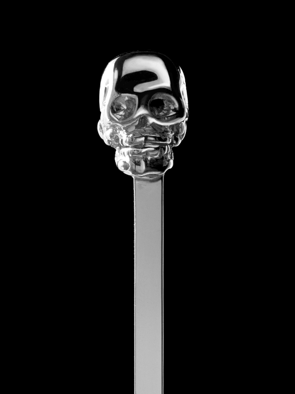 Skull Cocktail Stirrer / Hair Pin in Sterling Silver