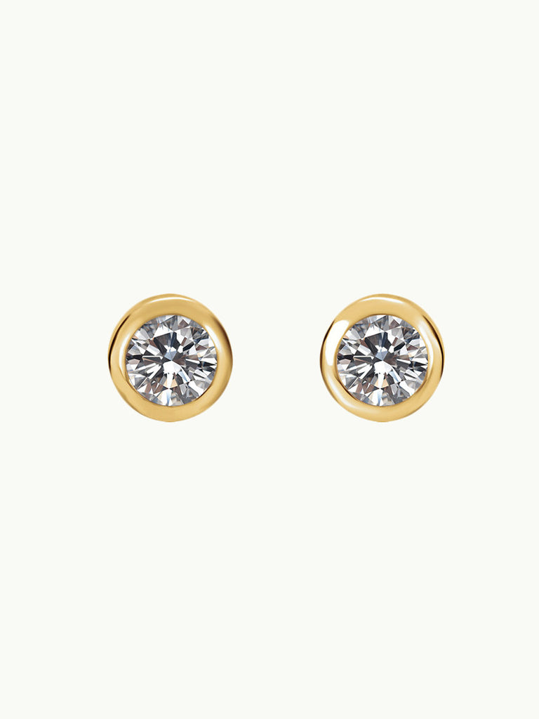 18K Gold Solitaire Diamond Stud Earrings