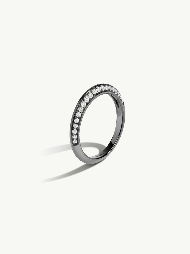 Marei 18K Black Gold Knife Edge Pavè Diamond Ring