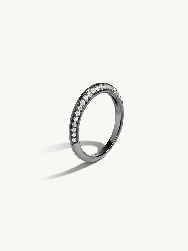 Marei Beveled Edge Pavé Diamond Band In 18K Black Gold