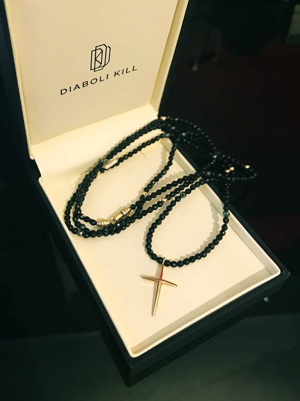 Crucifix Bead Necklace in Black Onyx and Yellow Gold