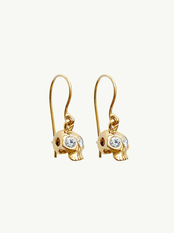 Memento Mori Diamond Skull Earrings in 18K Yellow Gold
