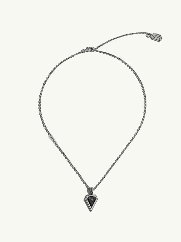 Aphrodite Black Diamond Amulet Pendant Necklace in 18K Black Gold