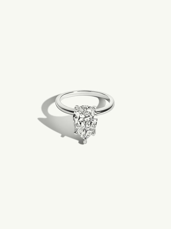Pear Shape Diamond Solitaire Engagement Ring