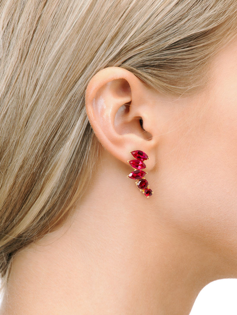 Isadora 18K Gold Earrings With Red Garnets