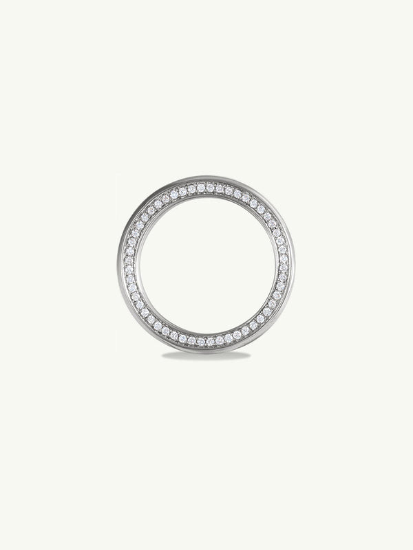 Ignis Extra-Wide Diamond Edge Accented Band In 18K White Gold - 8MM