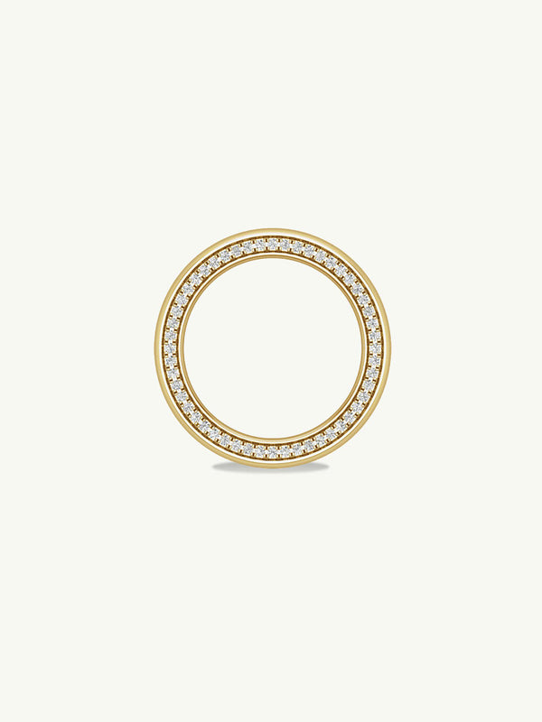 Ignis Extra-Wide Diamond Edge Accented Band In 18K Yellow Gold - 8MM