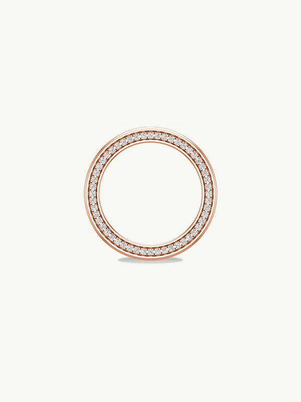 Ignis Extra-Wide Diamond Edge Accented Band in Rose Gold - 8MM