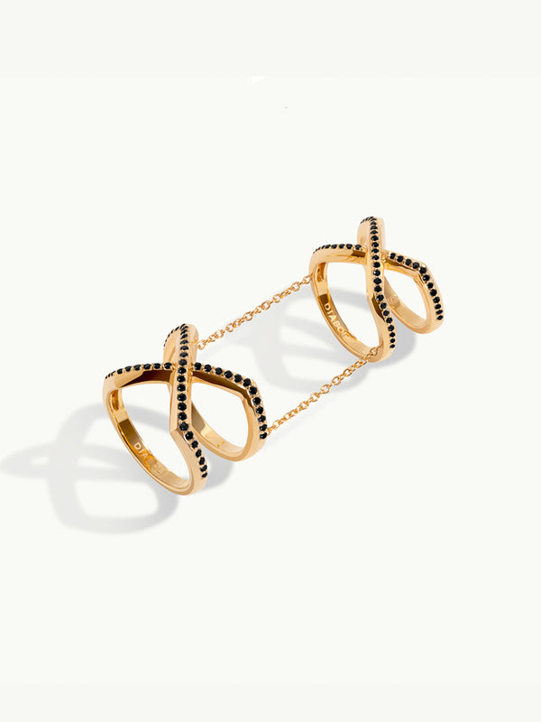 Exquis Gemini Infinity Ring With Pavé Black Diamonds in 18K Yellow Gold