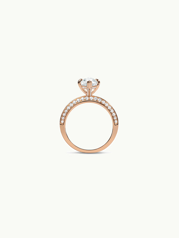 Marei Diamond Halo Engagement Ring with Marquise-Cut White Aquamarine in Rose Gold