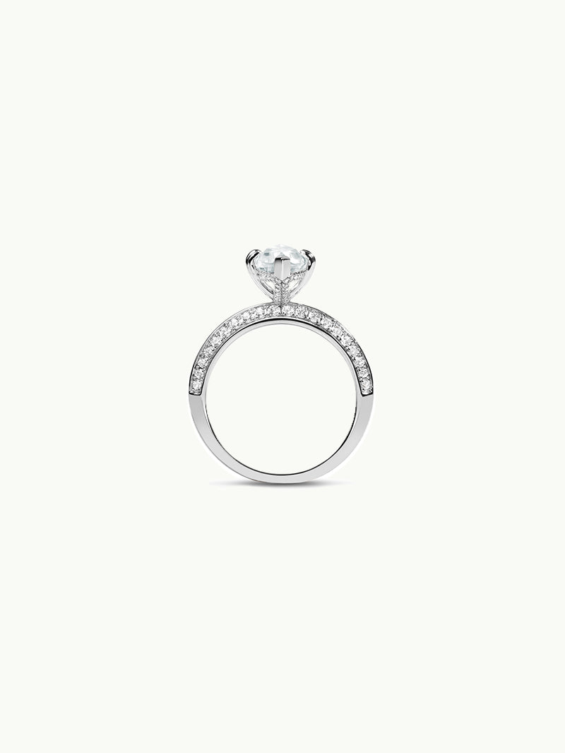Marei Diamond Halo Engagement Ring with Marquise-Cut White Aquamarine in 18K White Gold