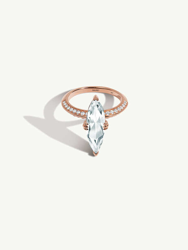 "Marei Marquise Engagement Ring with Diamond ""Halo"" and White Aquamarine in 18K Rose Gold"