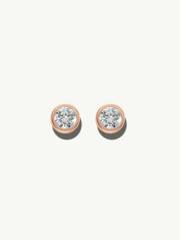 Adamas White Diamond Earrings in Rose Gold