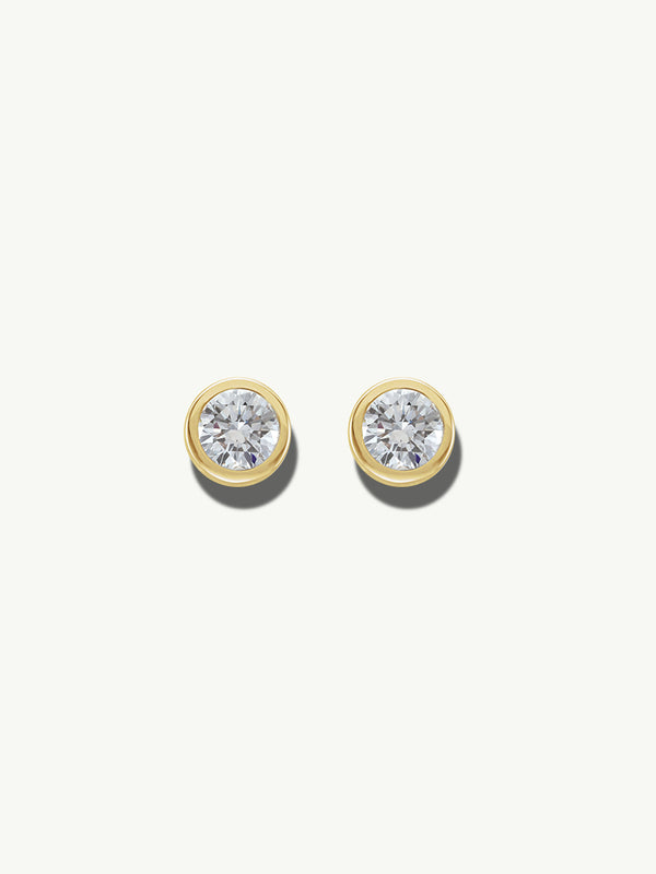 Adamas White Diamond Earrings in Yellow Gold