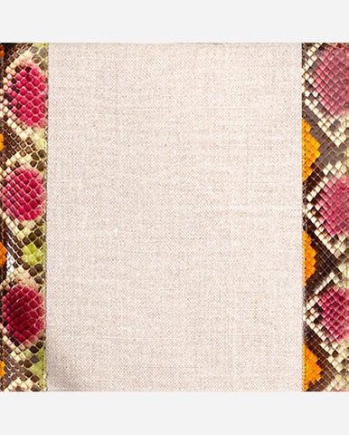 AMANDA PANEL <br />(for Taylor Clutch)<br /> Natural Linen Edged with Multi-Colored Glazed Python