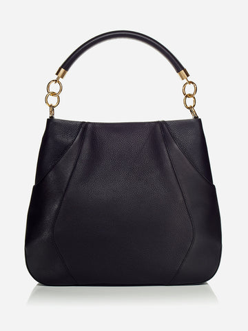 ANNA HOBO BAG<br /> Black Italian Leather