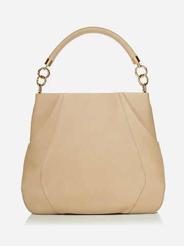ANNA HOBO BAG<br /> Taupe Italian Leather
