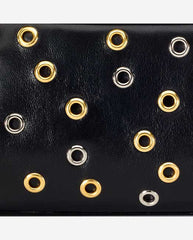 DOMINIQUE PANEL <br />(for Taylor Clutch)<br /> Black Italian Leather with Nickel and Gold Grommets