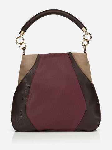 ANNA HOBO BAG<br /> Bordeaux and Chocolate Pebbled Italian Leather and Taupe Suede
