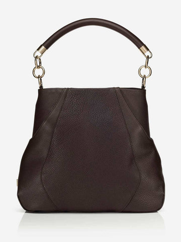 ANNA HOBO BAG<br /> Chocolate Pebbled Italian Leather