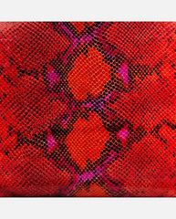 LUCIANA PANEL <br />(for Taylor Clutch)<br /> Red/Hot Pink Faux Python (Italian Leather)