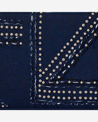 REBECCA PANEL <br />(for Taylor Clutch)<br /> Navy Studded and Embroidered Canvas